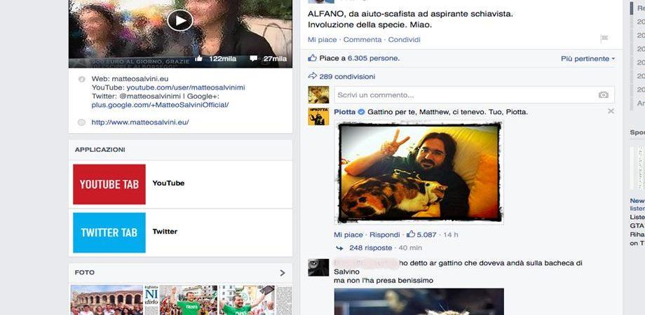 Salvini attaccato su Facebook… dai gattini