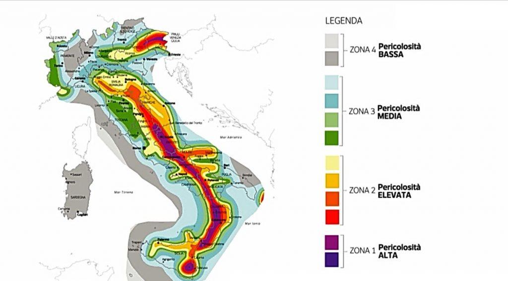 Mappa del rischio sismico in Italia (Ingv)