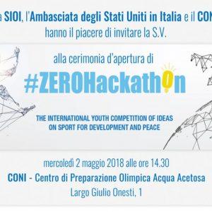 SIOI, il 2 maggio la cerimonia d'apertura #ZEROHackathon2018
