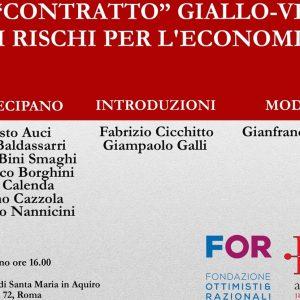 """""""Il contratto giallo-verde e i rischi per l'economia"""": convegno il 12 giugno"""