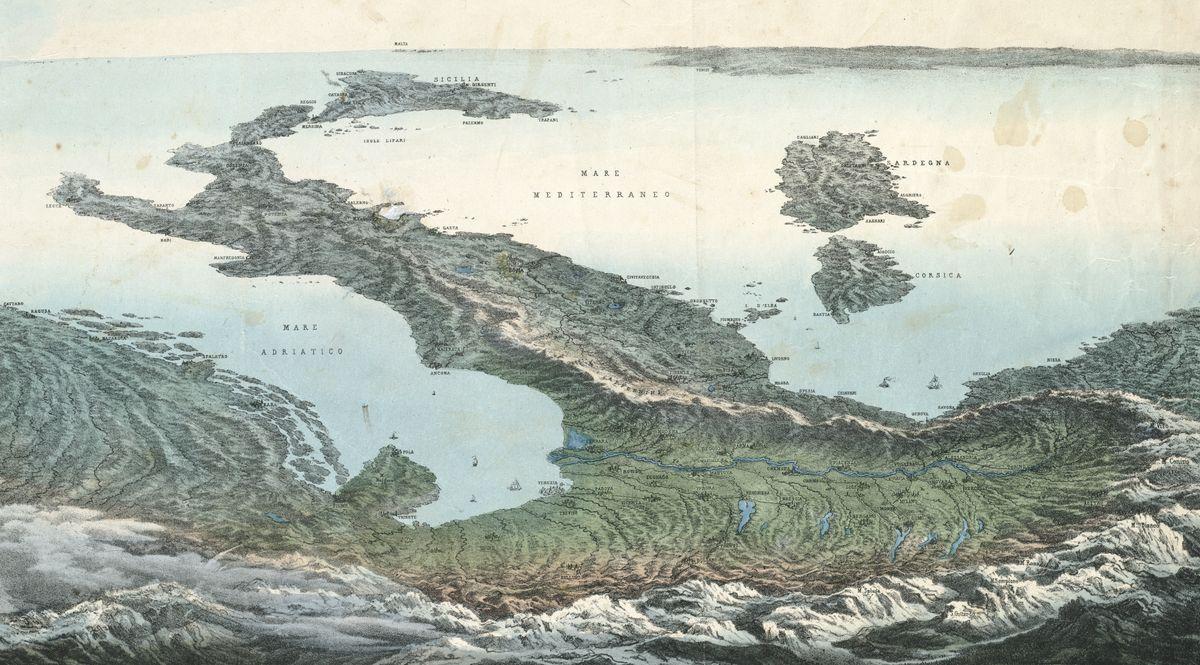 Mappa dell'Italia al contrario