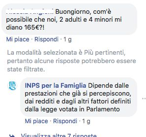 INPS per la famiglia su Facebook