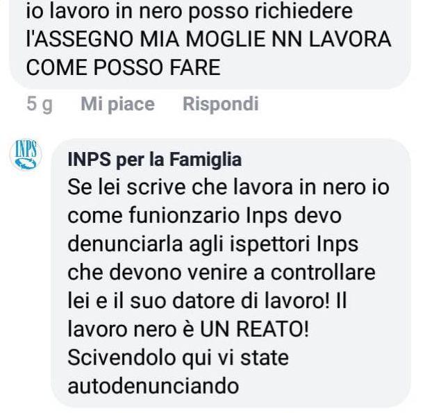 Screen Facebook pagina INPS