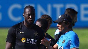 Romelu Lukaku con Antonio Conte