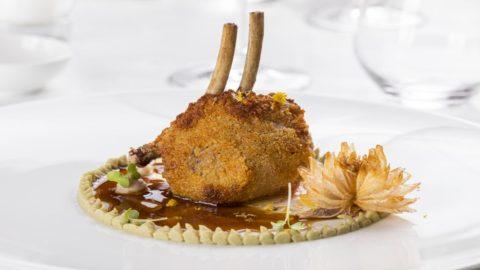 La ricetta di Pietro Penna: carrè di agnello, camomilla, carciofi e lampascioni selvatici