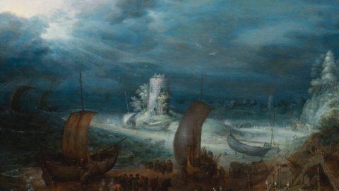 "BIAF: Onirico ""Paesaggio Litoraneo con Torre Saracena"" di Roelant Savery"