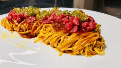 La ricetta di Aldo Ritrovato: tagliolini, tartare di fassona e gramolada