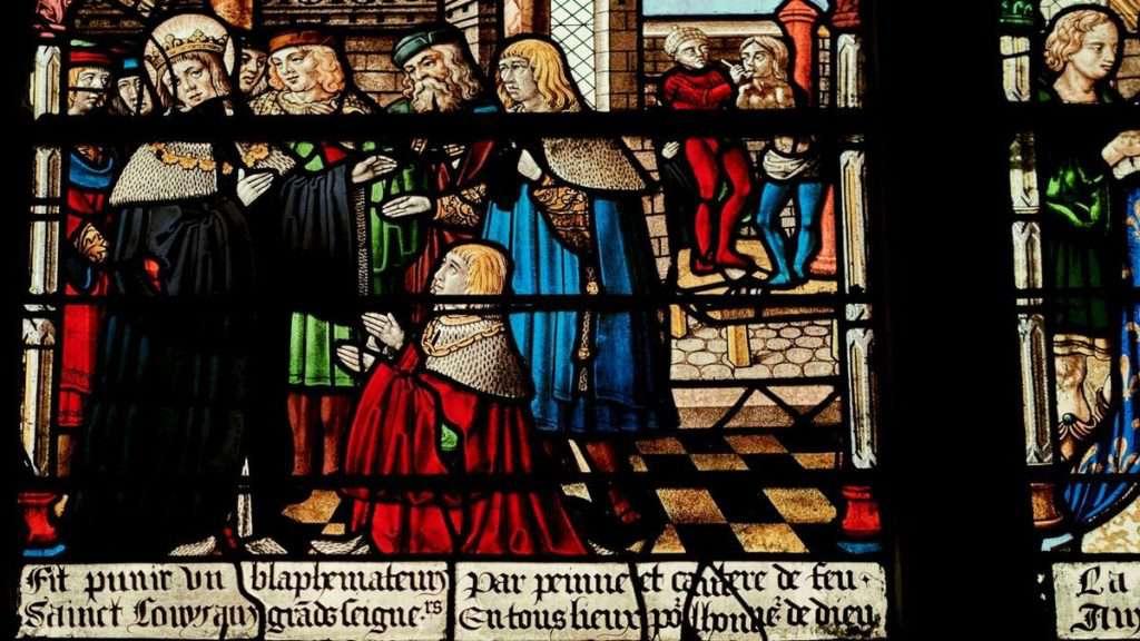 Vetrata Chiesa Troyes con il Comte de Montaigne