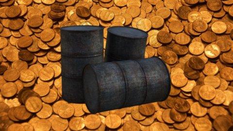 petrolio e monete d'oro