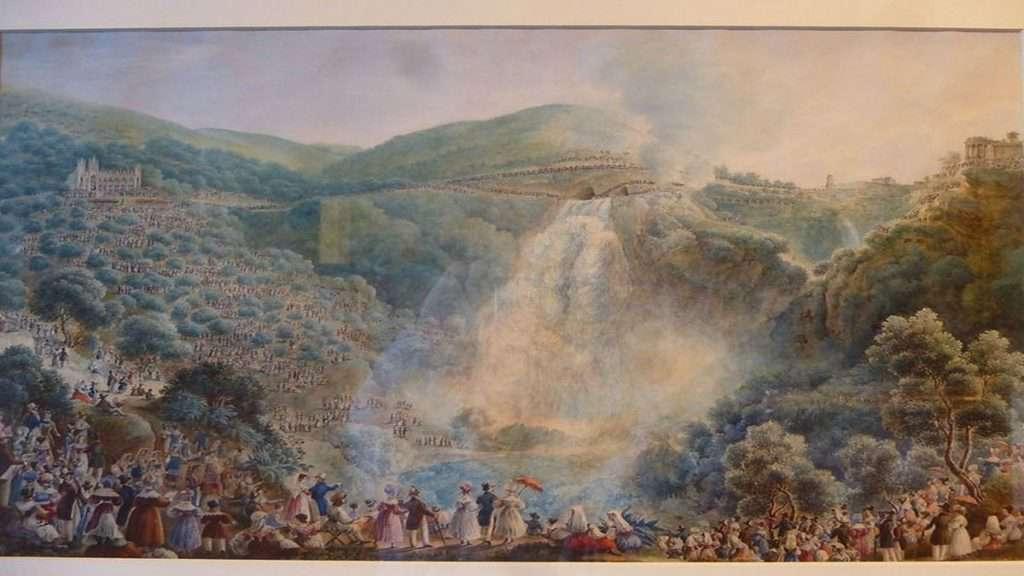 Tivoli, apertura dei cunicoli, Aniene e Gregorio XVI (Riveruzzi, 1835)