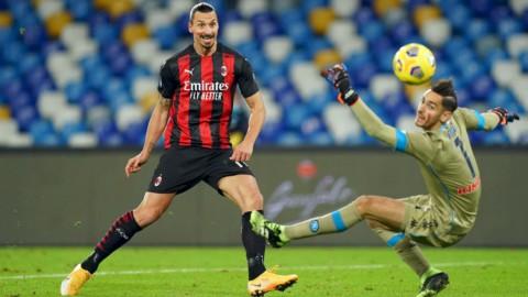 Zlatan Ibrahimovic in Napoli-Milan