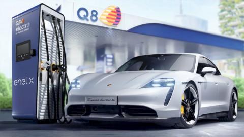 Ricarica auto elettrica: accordo EnelX-Porsche-Q8