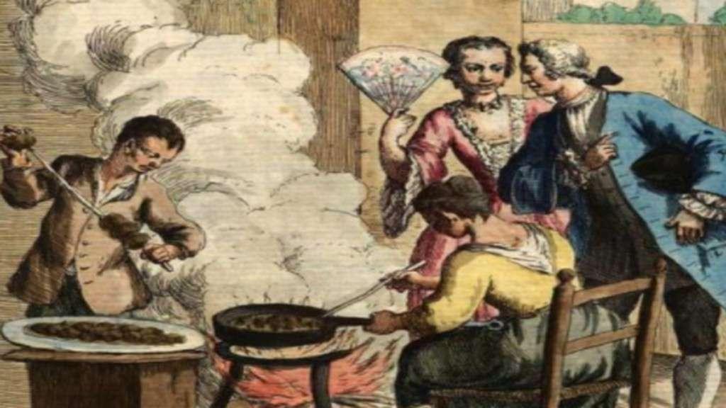 I fritoleri quadro di Gaetano Zompin che mostra la vendita di frittelle dolci nelle piazze di Venezia