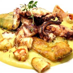 La ricetta di Salvatore Riontino: purea di fave di Carpino, polpo e zafferano