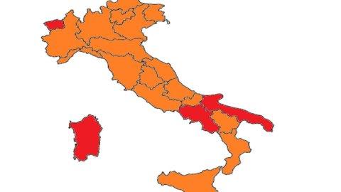 Covid, 6 Regioni passano in arancione. Sardegna in rosso