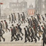 """Going to the Match"": folla in attesa di una partita di rugby nel dipinto di Lowry"