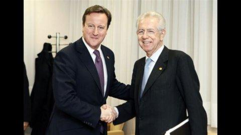 Monti, con Cameron per un mercato unico