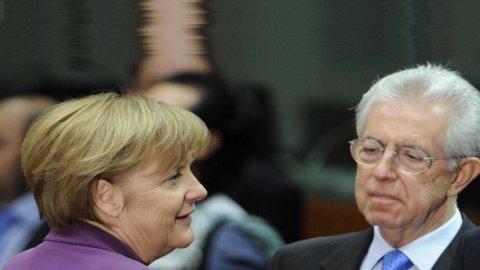 Oggi summit a 4 a Roma: Monti e Hollande in pressing su Merkel. Piazza Affari inizia in ribasso