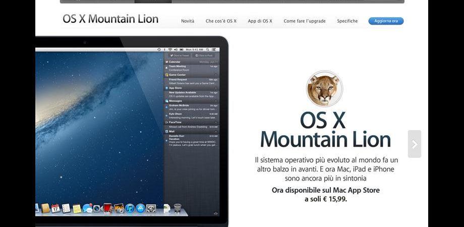 Apple: OS X Mountain Lion da oggi su Mac Store
