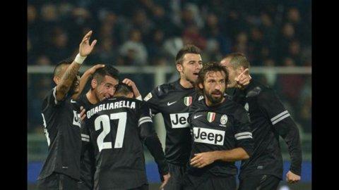 Prova di forza della Juve a Pescara: 6-1, tripletta di Quagliarella