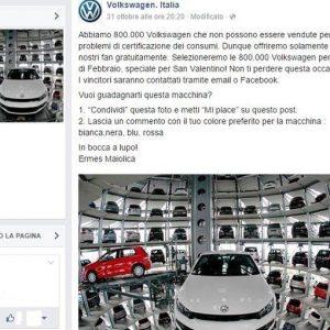 Volkswagen e Facebook: la bufala del concorso che regala le auto truccate