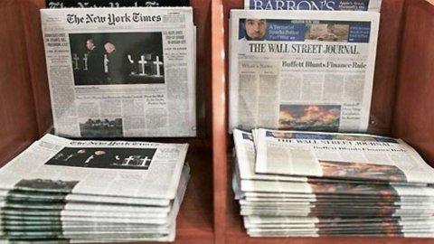 Giornali: negli Usa solo 2 testate vendono oltre 500mila copie al giorno