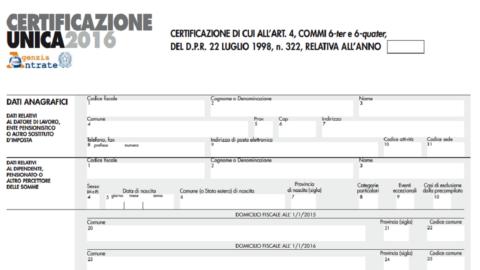 Certificazione Unica 2016: istruzioni per l'uso
