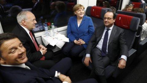 """Gottardo, primo viaggio nel tunnel dei record. Renzi: """"Grazie alla Svizzera"""""""