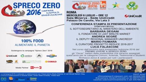 Alimenti, Spreco zero 2016: in Italia 8,4 miliardi nella spazzatura